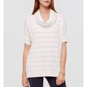Lou & Grey Striped Cowl Neck Short Sleeve Tee Q522